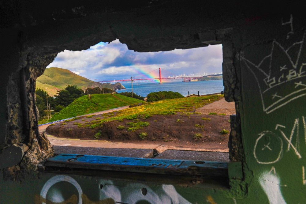 Golden Gate viewed from the crumbling ruins of Battery Mendell