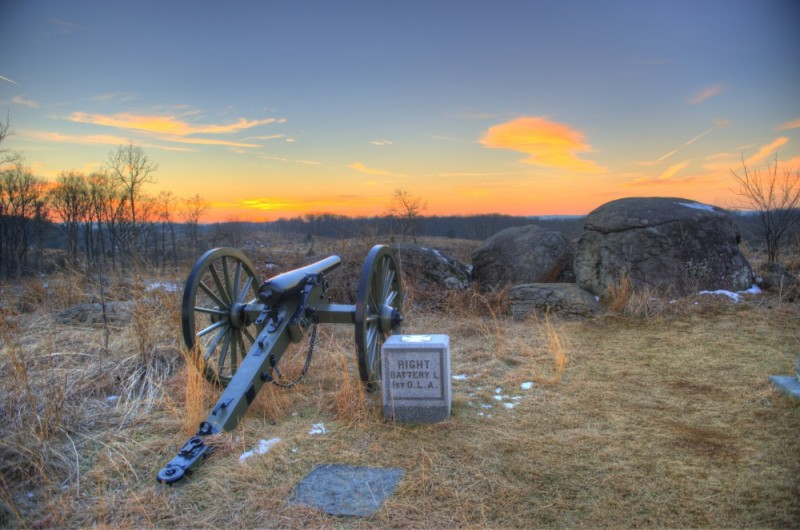 Sunset near Little Roundtop at Gettysburg.