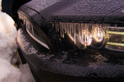 Coated car during the March 1st ice storm