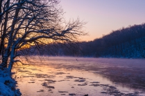 "The Potomac steams at sunrise. A day of warmer temps and rain caused many eareas upstream to melt. The ""warmer"" water steams in the 13 degree air."