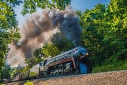 Under heavy steam, 611 climbs into the Blue Ridge Mountains outside of Markham