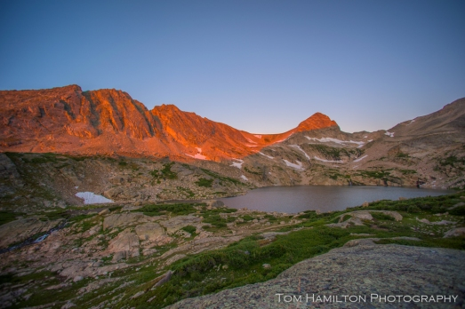 Alpenglow on Pawnee Peak above Blue Lake in the Indian Peaks Wilderness