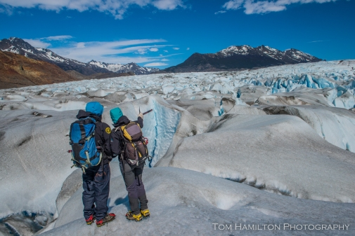 Planning out our path atop the Viedma glacier (pictured from above two pictures earlier)