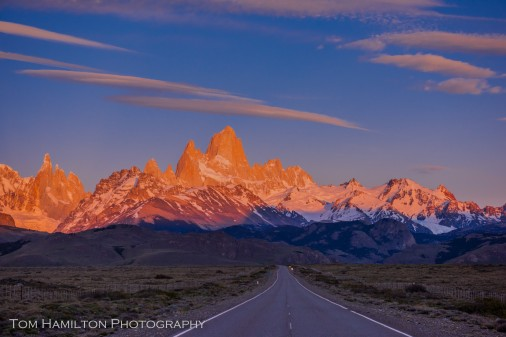 """Patagonia Logo"". The Fitz Roy Range in Los Glaciares National Park in Argentina is basked in alpenglow."