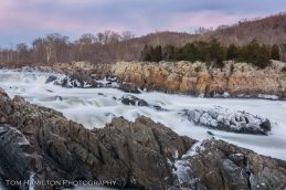 Frozen rocks at Great Falls during a cold snap