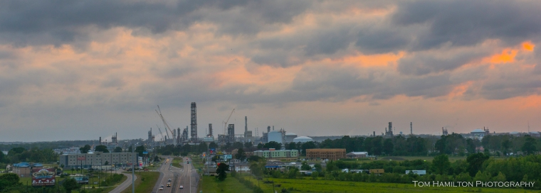 """Gotham City"" - Refineries line the Mississippi above New Orleans"