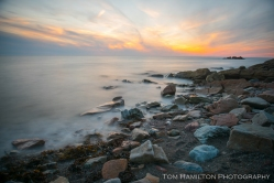 Long exposure sunset along the shore of the Gulf of St. lawrence