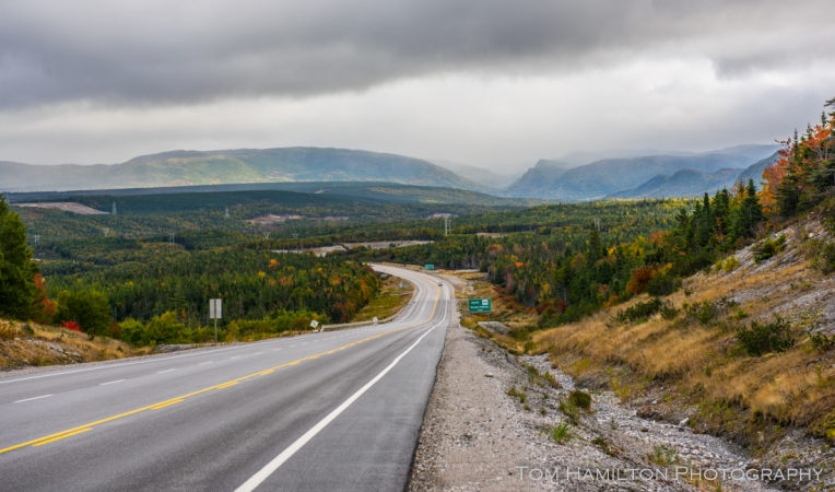 Typical scene along the Trans Canada Highway along Western Newfoundland. Fall colors had just begun, turning the tundra-like barrens red.