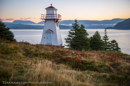 Woody Point lighthouse overlooking Bonne Bay