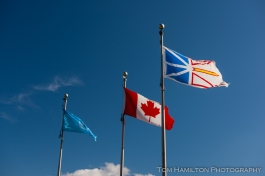 UN, Canadian, and Newfoundland & Labrador flags flying outside of the Gros Morne National Park Visitor's Center