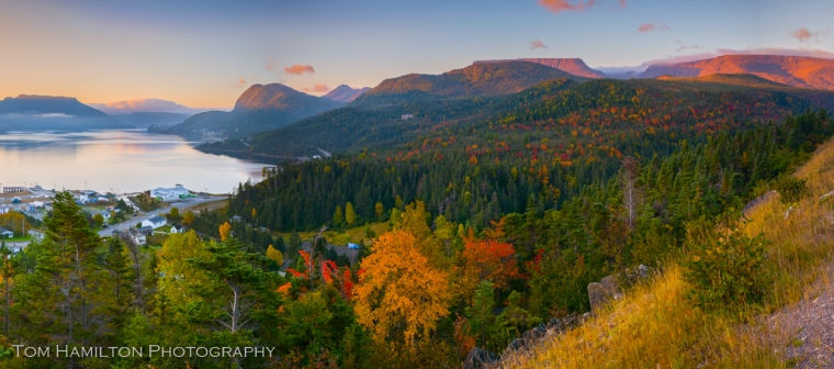 Early morning lighting on the Tablelands and the South Arm of Bonne Bay in Gros Morne National Park