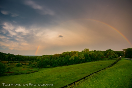 A rainbow appears above a horse pasture West of Leesburg