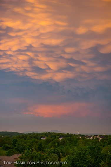 Zoomed in, its clear to see the puffy mamatus clouds drooping beneath the thunder head. In the distance is Sugarloaf Mountain and Dickerson, Maryland