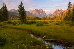 View of the Sawtooth Mountains just after sunrise at Fishook Creek
