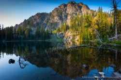 Seven Devils lake at sunrise in Hells Canyon National Recreation Area