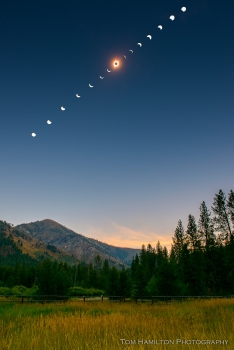 The Great American Total Solar Eclipse over the Sawtooth Mountains as viewed from The Atlanta Ranger Station in the Boise National Forest outside the town of Atlanta
