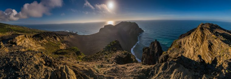 Panorma of the Capelinhos Volcano on the West coast of Faial.