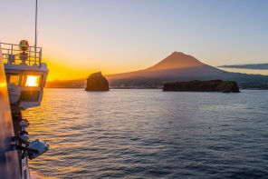 Sunrise over Pico as seen from the Atlanticoline Ferry boat.