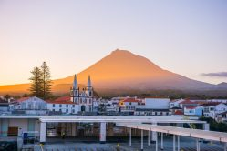 Sunrise glow over the town of Magdalena on the island of Pico. The town was named after Mary Magdalene