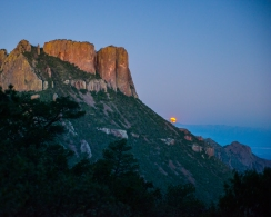 moonrise behind Casa Grande in the Chisos Mountains. Beautiful scenery is pervasive in Big Bend.
