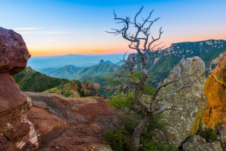 Pre-sunrise glow from atop the Lost Mine Trail in Big Bend National Park.