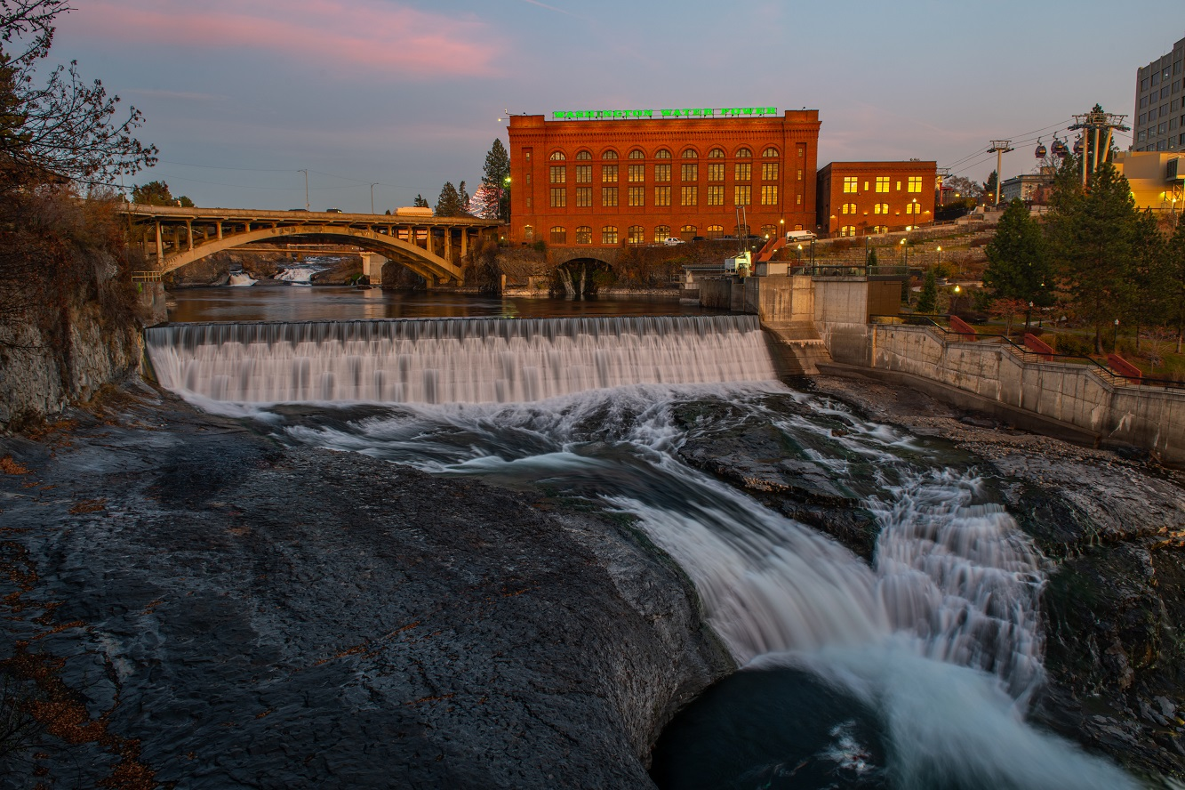 Large waterfalls on the River in Spokane fueled the growth of the city.