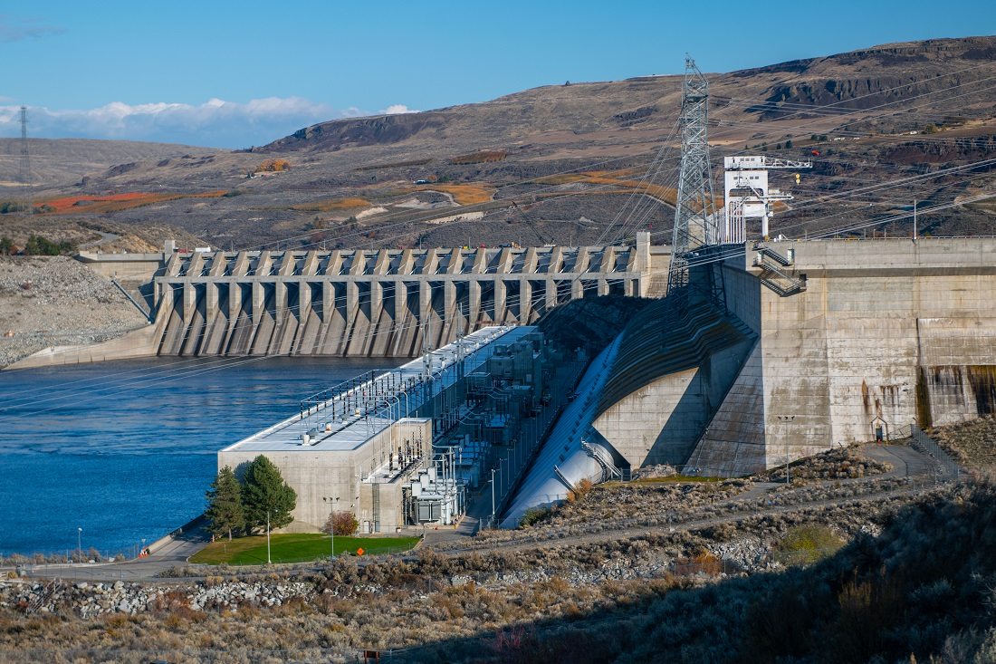 Chief Joseph Dam, the second largest hydroelectric powerplant in the US is overshadowed by its neighbor, the Grand Coulee Dam.